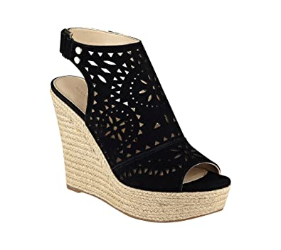 be0c68e2293 Image Unavailable. Image not available for. Color  Marc Fisher  quot Harlea  Wedge Sandals Black ...