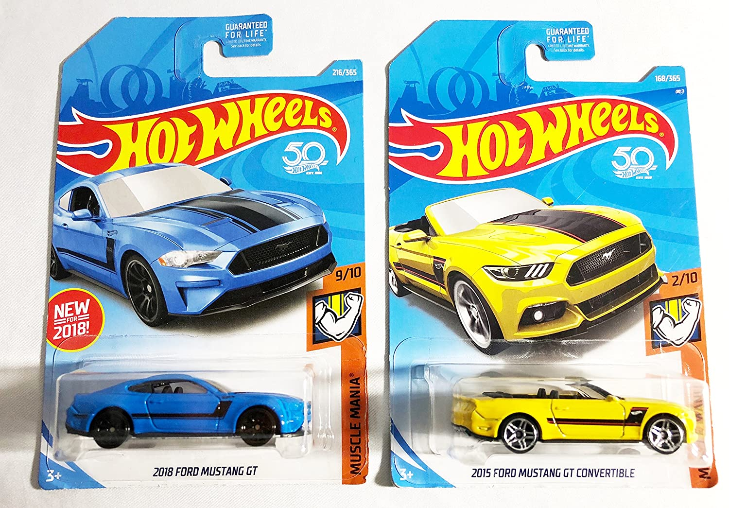 Hot wheels 50th anniversary muscle mania gift pack 2018 ford mustang gt blue 9 10 216 365 2015 ford mustang gt convertible yellow 2 10 168 365