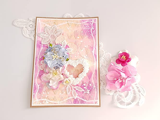 Handmade Paper Greeting Cards For Birthday Gift Him And Her Style Shabby Chic Flowers