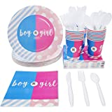 """Juvale Gender Reveal Party Supplies - Serves 24 - """"Boy or Girl"""" Disposable Dinnerware Paper Plates, Napkins, and Cups, Pink and Blue"""