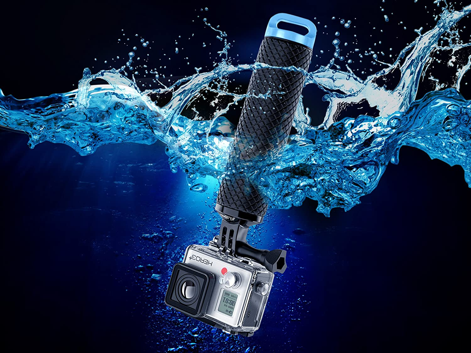 Waterproof Floating Hand Grip Compatible with GoPro Hero 8 7 6 5 4 3+ 2 1 Session Black Silver Camera Handler & Handle Mount Accessories Kit for Water Sport and All Action Cameras (Blue) : Camera & Photo