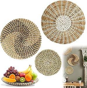 Handmade Wall Basket Boho Decor, Bilinavy Woven Basket Wall Decor, Hanging Wall Baskets, Decor for Home Bedroom, Kitchen, Living Room, Decorative Seagrass Bowl and Trays - Set of 3