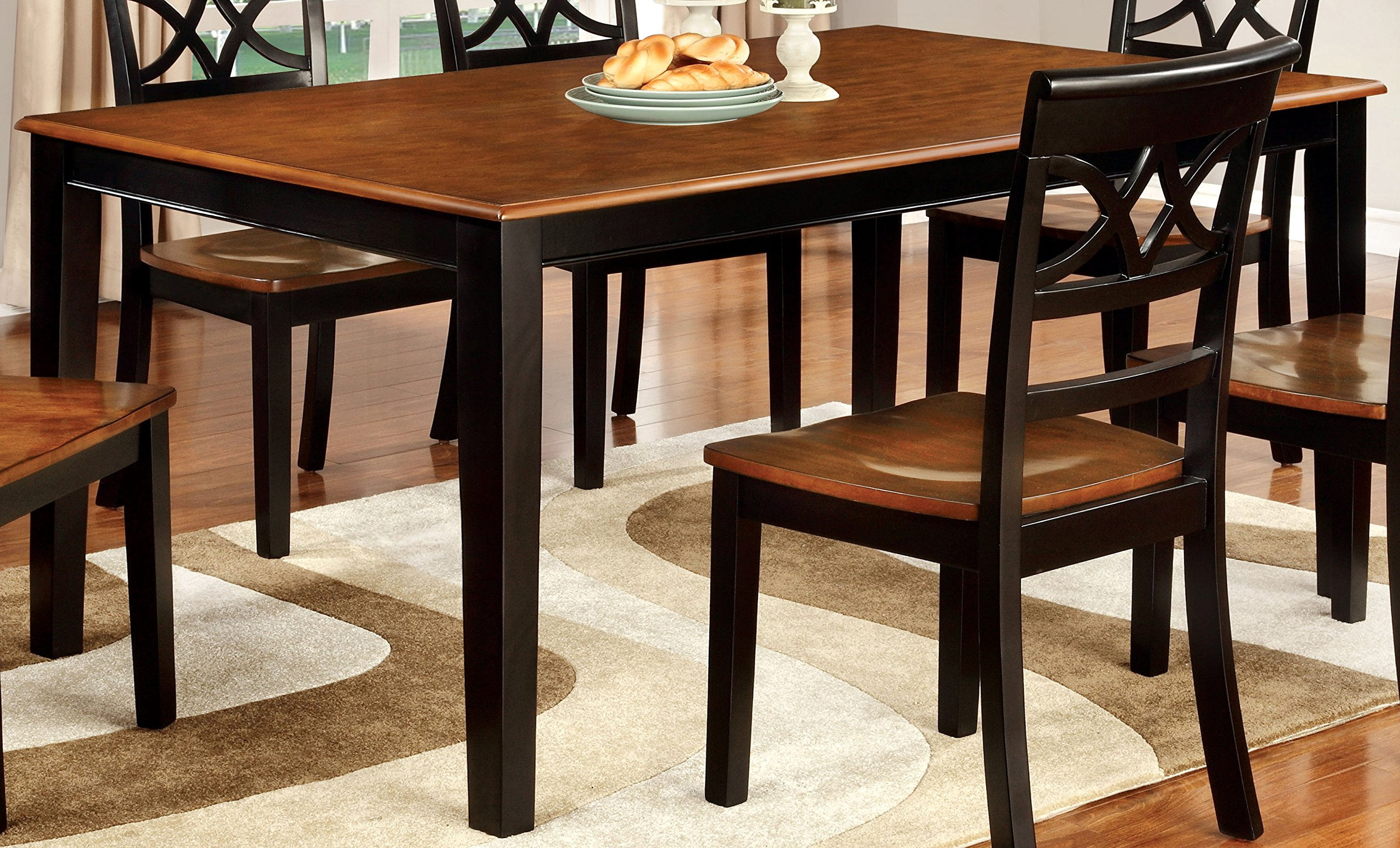 Furniture of America Cherrine Country Style Dining Table, Oak/Black