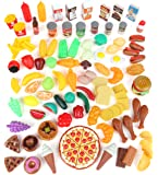 Play Food Set for Kids & Toy Food for Pretend Play - Huge 125 Piece Play Kitchen Set with Childrens Educational Food…