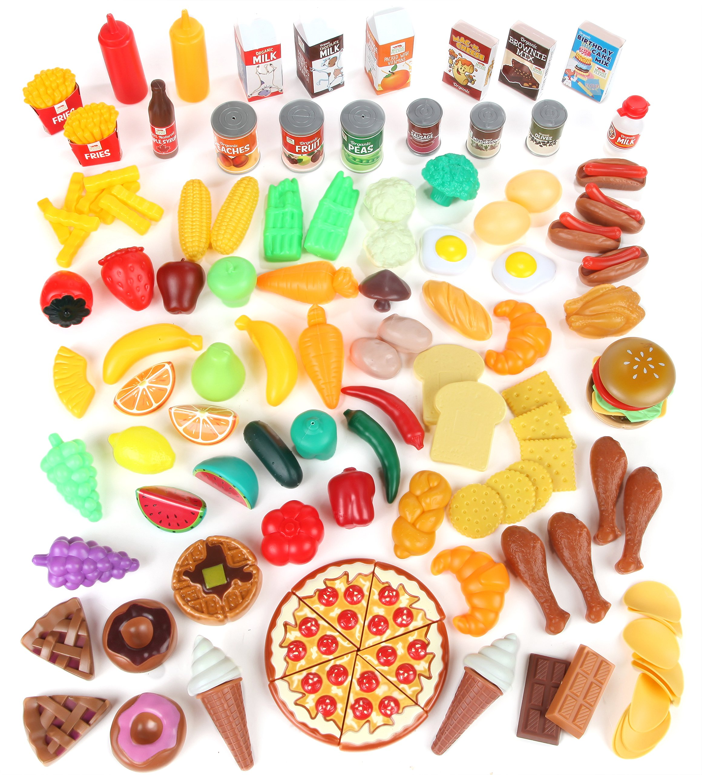 Play Food Set for Kids & Toy Food for Pretend Play - Huge 125 Piece Play Kitchen Set with Childrens Educational Food Toys for Toddlers Inspires Imagination - Fake Plastic Foods for Cooking Edition 1 by Mommy Please