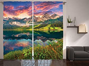 """Ambesonne Landscape Curtains, Summer Sunrise on Vorderer Gosausee Lake in The Austrian Alp Mountains, Living Room Bedroom Window Drapes 2 Panel Set, 108"""" X 84"""", Coral Green"""