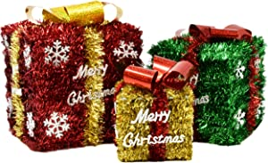 Gift Boutique Set of 3 Christmas Boxes Tinsel Red Green and Gold Small Medium and Large Present Boxes Christmas Decoration Indoor Yard Home Decor