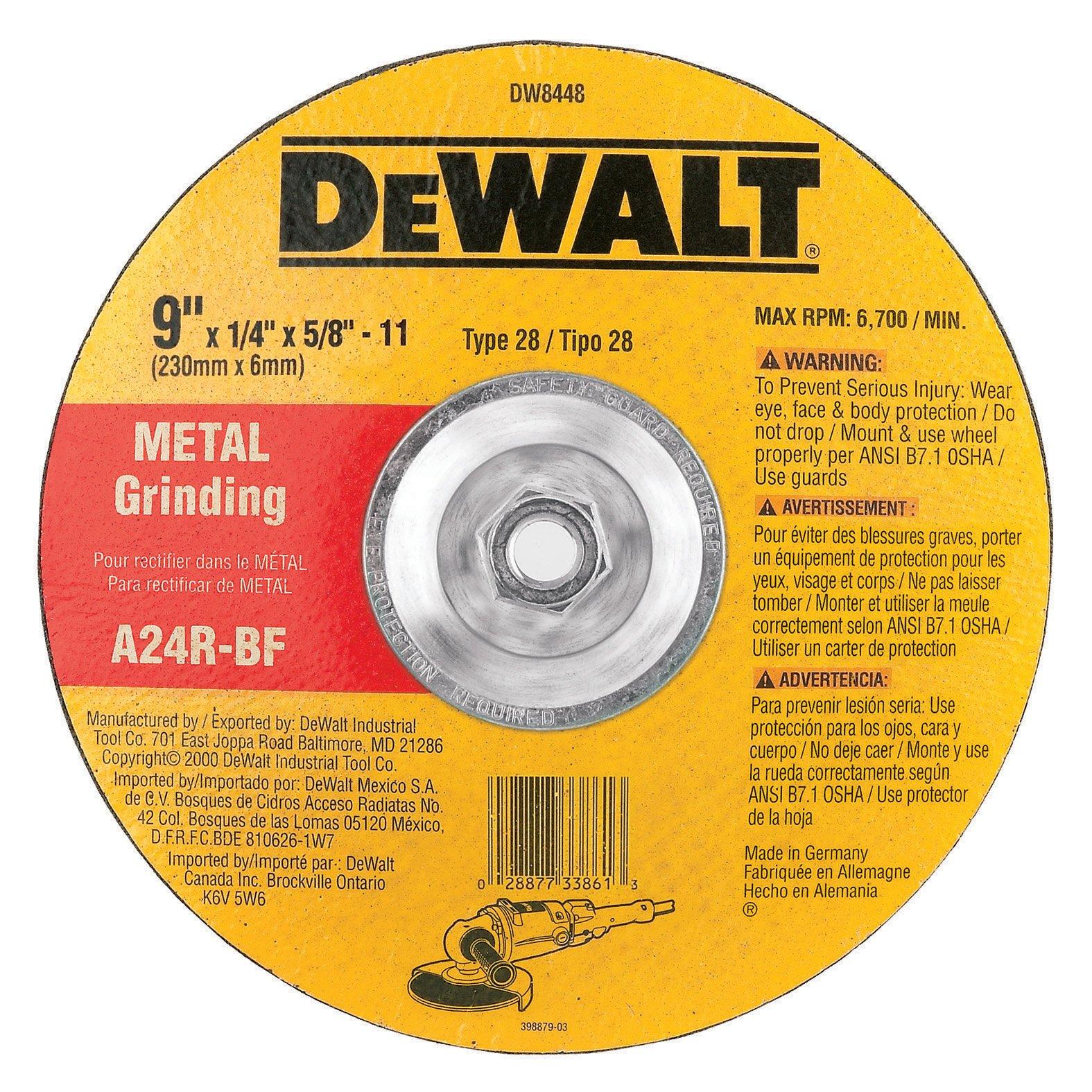 DEWALT DW8448 9-Inch by 1/4-Inch by 5/8-Inch-11 T28 Metal Grinding