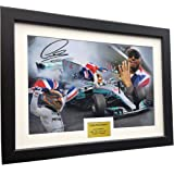 A4 12x8 Signed Lewis Hamilton - 4 Times World Champion Celebration Edition - Mercedes-AMG Petronas - Autographed Photo Photograph Picture Frame Motor Sport Formula 1 F1 Gift