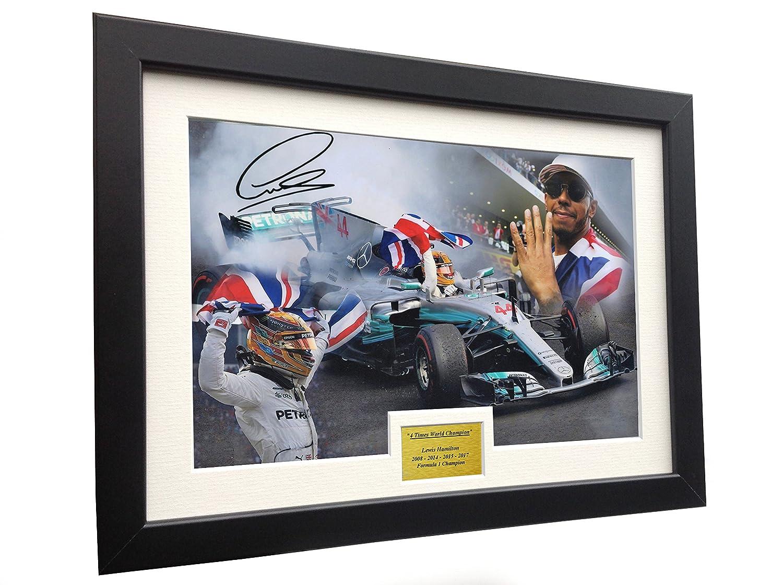 A4 12x8 Signed Lewis Hamilton - 4 Times World Champion Celebration Edition  - Mercedes-AMG Petronas - Autographed Photo Photograph Picture Frame Motor  Sport ... e5ca2f09448