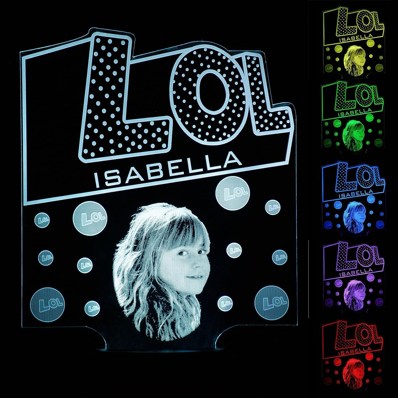 LOL Surprise Inspirado Regalo Personalizado Foto Nombre Luz de Noche 16 Colores