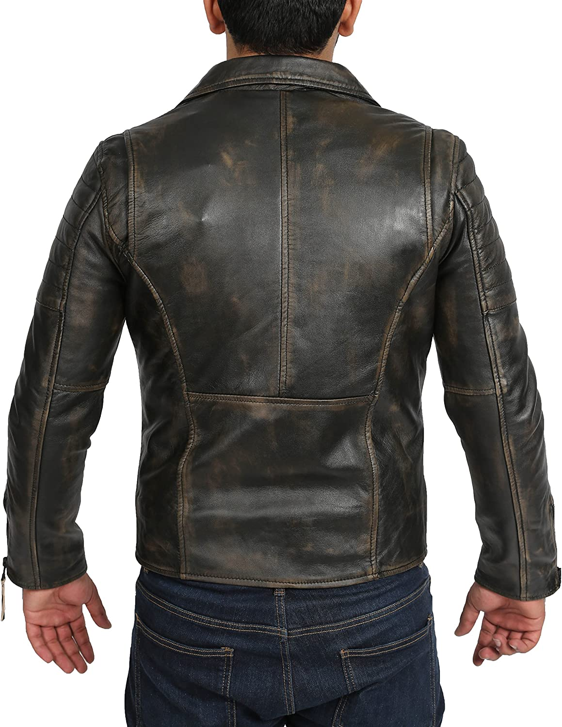 Mens Lambskin Leather Biker Style Dual Zip Jacket Slim Fit Hook Black Rub Off
