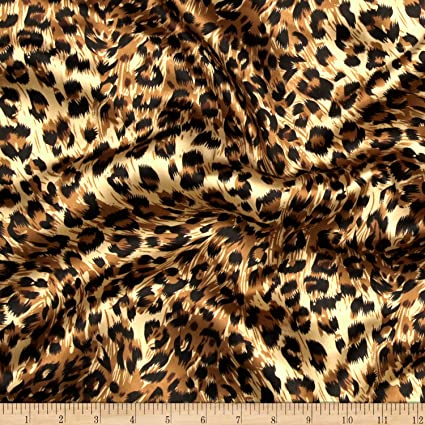 9264add584f Amazon.com: Ben Textiles Charmeuse Satin Big Cheetah Tan/Brown/Black Fabric  by The Yard