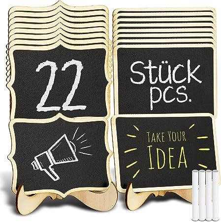 Tritart - Minipizarras con soporte, 22 pizarras de madera para decoración de mesas de cumpleaños o bodas, para menús y bufés, incluye 4 tizas: Amazon.es: Hogar