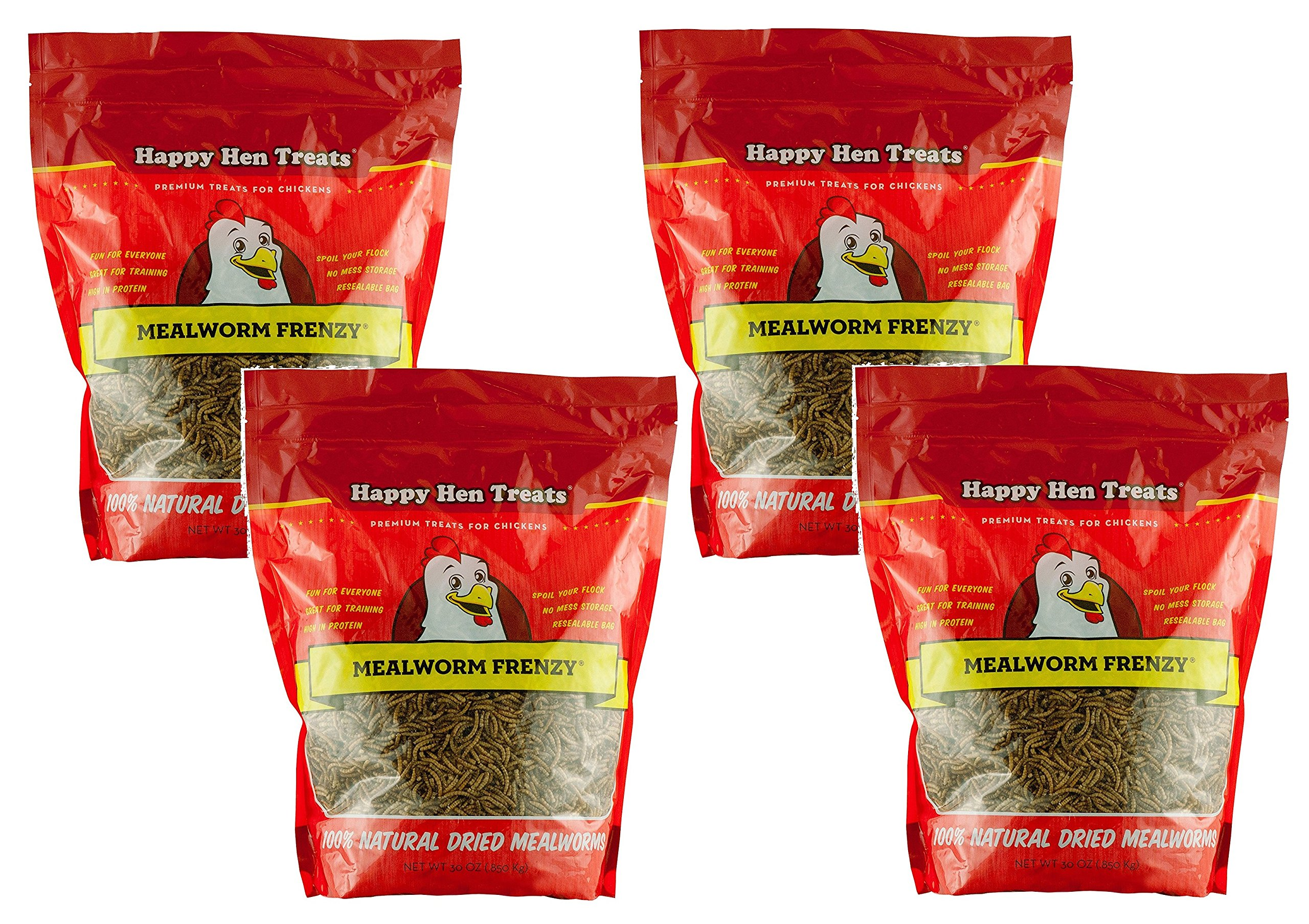 (4 Pack) Happy Hen Treats Mealworm Frenzy, 30-Ounces each by Happy Hen Treats