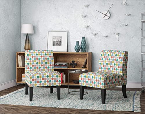 Domesis Set of 2 Upholstered Armless Chairs in Pink Starlight Modern Print