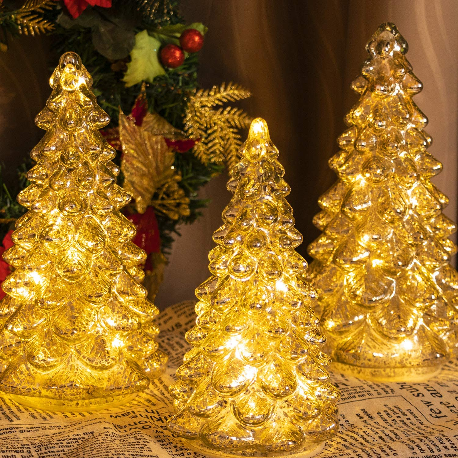 KI Store Lighted Glass Christmas Tree Figurine with Timer Set of 3 Mercury Glass Christmas DecorationBattery Operated for Centerpieces Window Tabletop Mantel