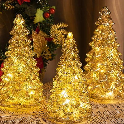 ITART Light up Mercury Glass Christmas Tree Figurine Decoraciones ...