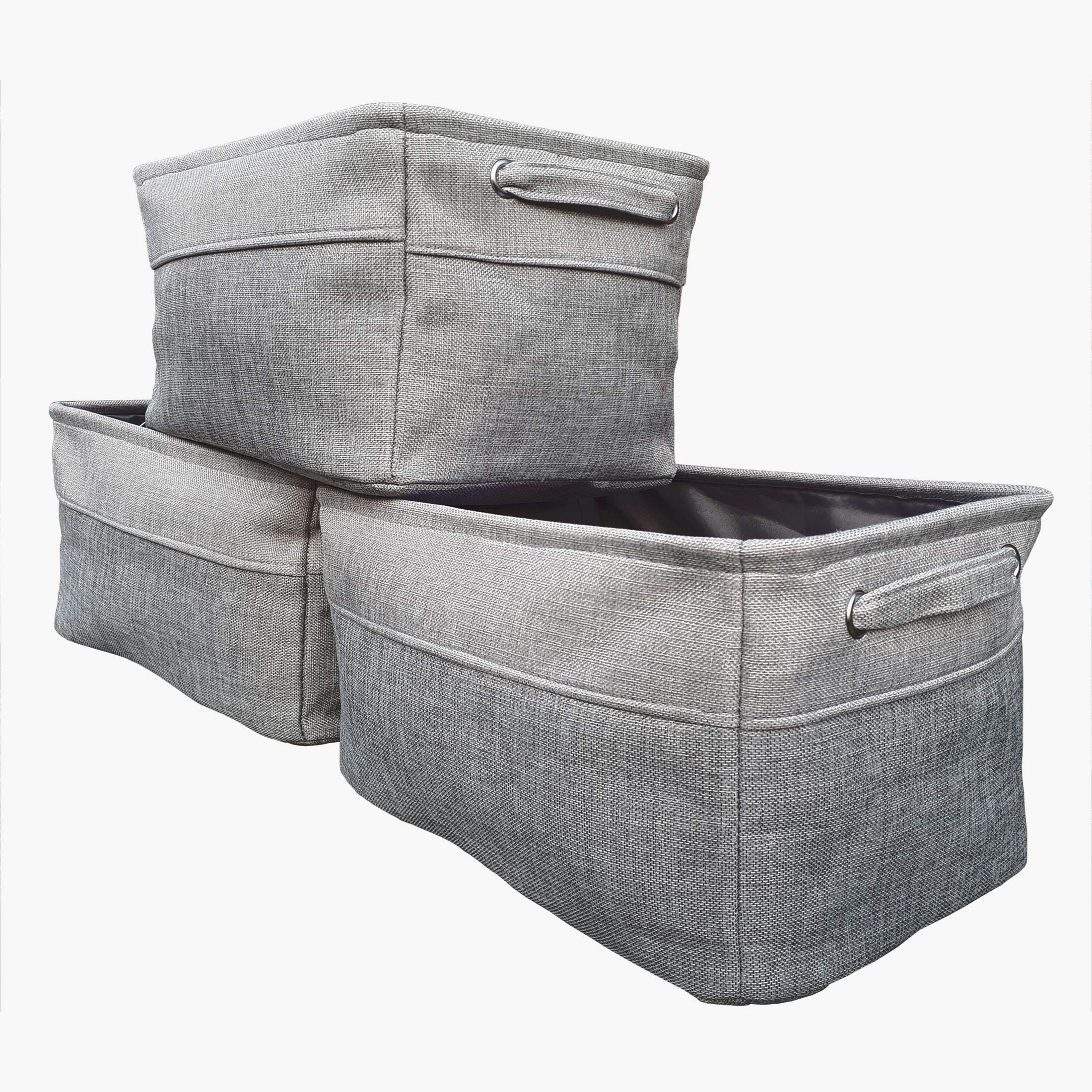 Collapsible Storage Bin Basket 3 Pack F&K home Foldable Rectangle Linen Fabric Baskets with Handles Modern Grey for Nursery Closet Bathroom Living Room Office by F&K home