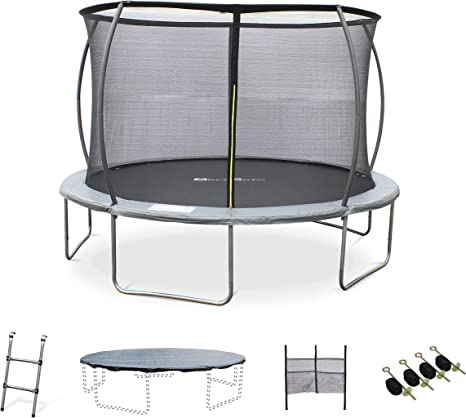Trampoline O 370 Cm Capricorn Xxl Garden Trampoline Grey With Inner Protection Net Ladder Tarpaulin Net For Shoes And Anchor Kit 3 7 M 370 Cm Amazon Co Uk Sports Outdoors