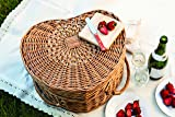 Picnic Time 'Heart'  Willow Picnic Basket with