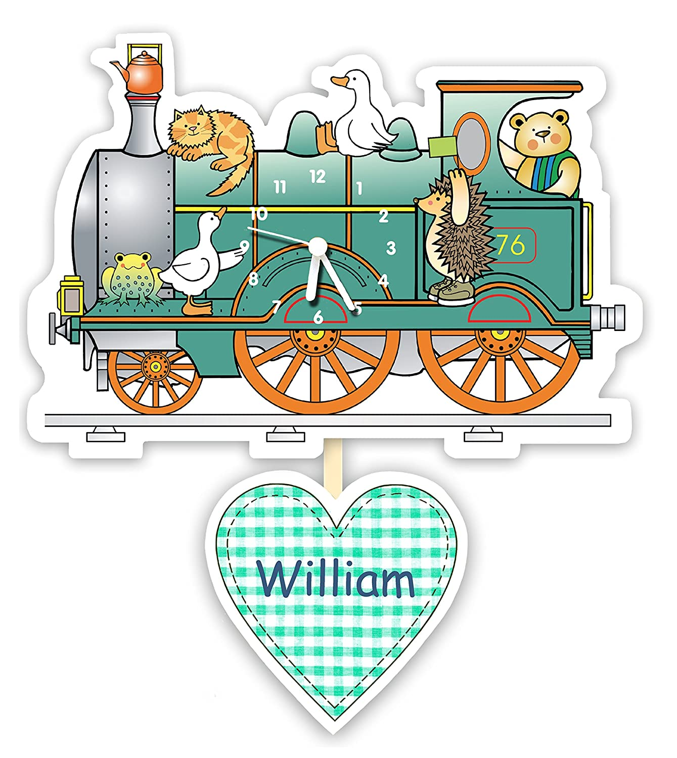 Personalised baby or children's nursery / bedroom pendulum clock - All aboard the train The Marmalade Cat