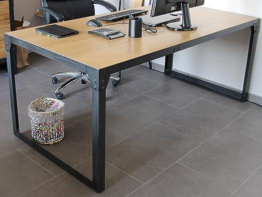 Mesa escritorio 180 cm Loft Industrial diseño madera de roble ...