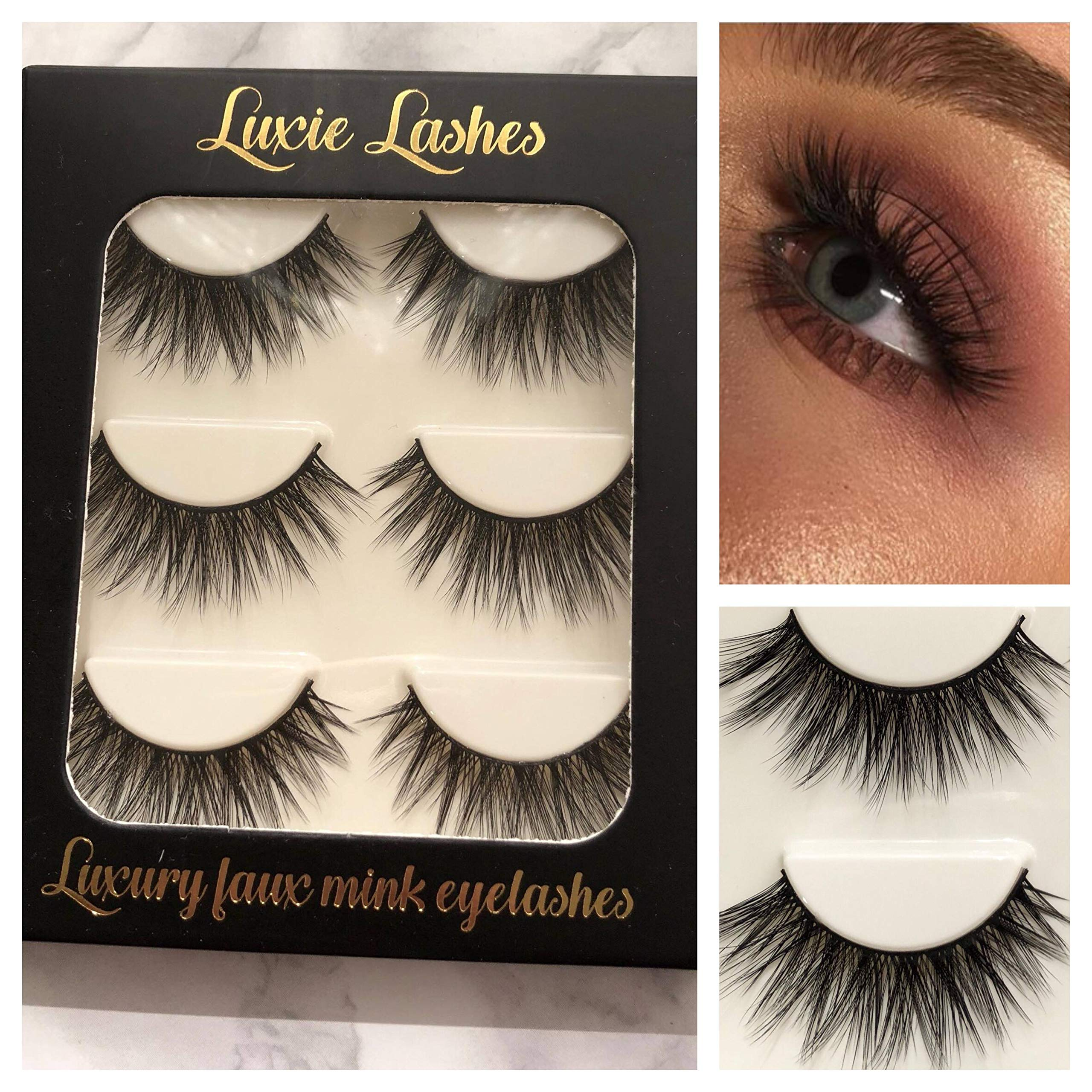 1eaec45784a LUXIE LASHES 3D Luxury Fluffy Faux Mink Natural Strip Fake Long Eyelashes  Multipack - 3 Pairs