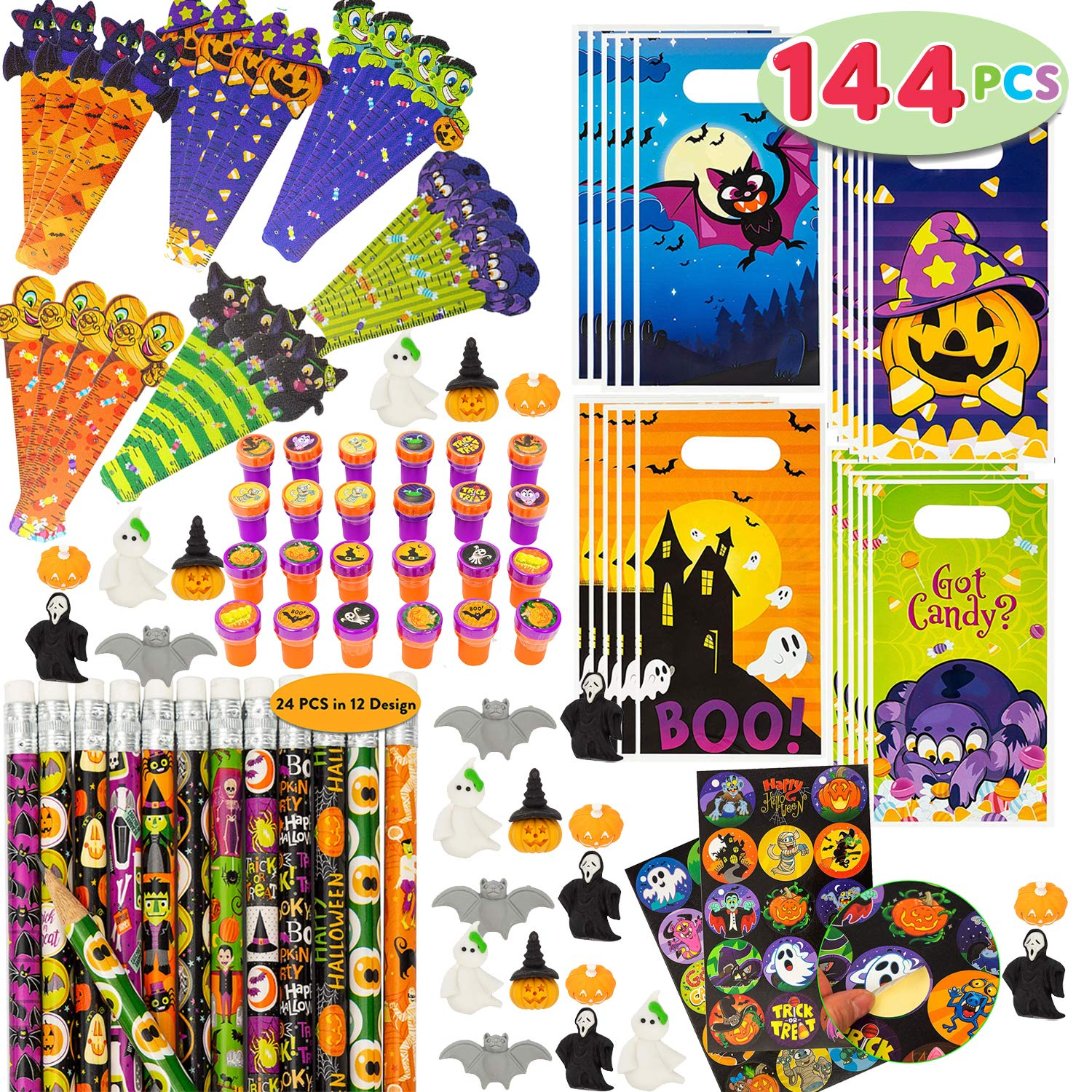 JOYIN 144 Pieces 24 Pack Assorted Halloween Themed Stationery Kids Gift Set Trick Treat Price Party Favor Toy Including Halloween Pencils, Rulers, Stickers, Stamps and Erasers in Trick or Treat Bags by JOYIN
