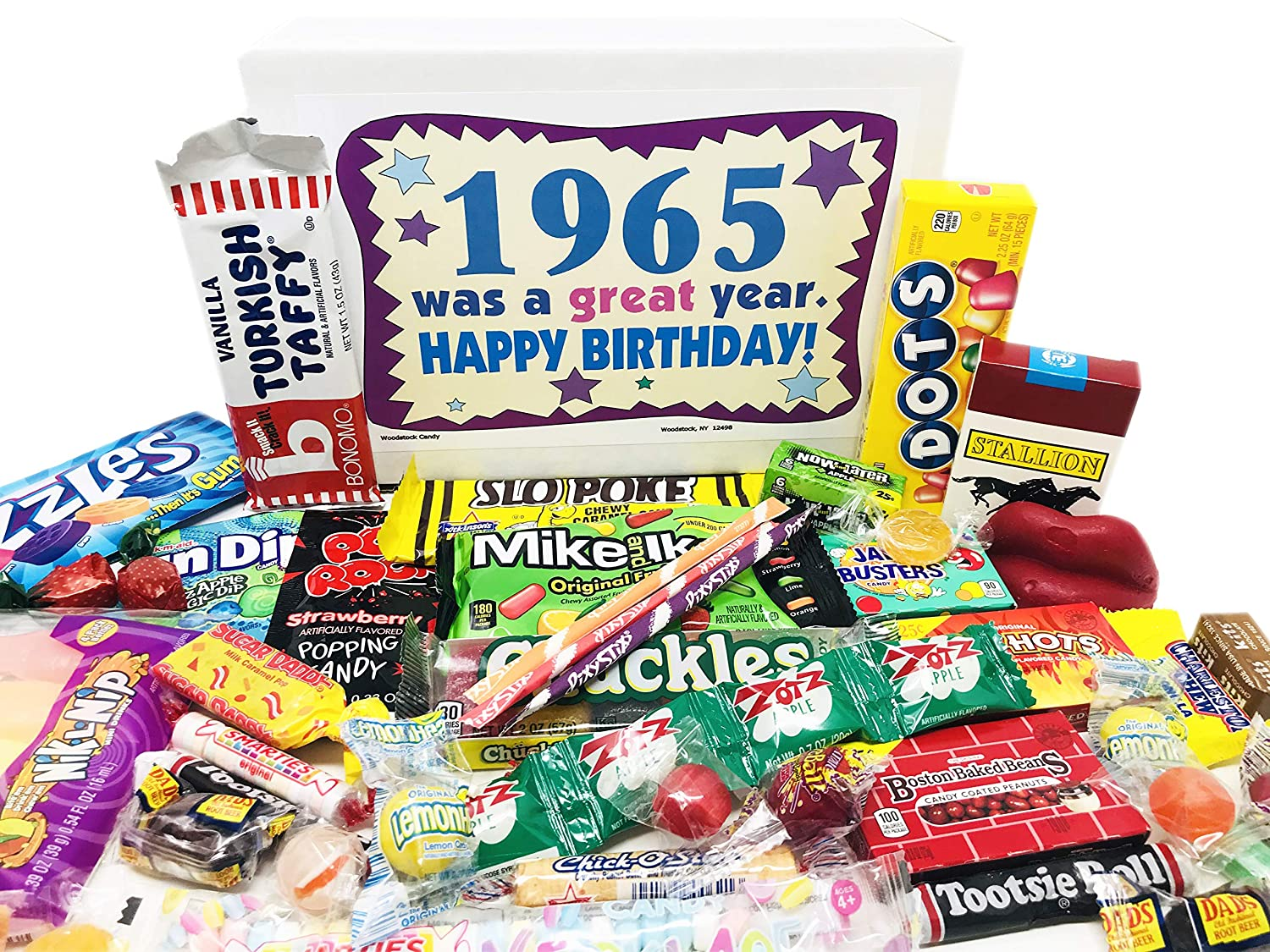 Woodstock Candy ~ 1965 56th Birthday Gift Box Nostalgic Retro Candy Mix from Childhood for 56 Year Old Man or Woman Born 1965 Jr