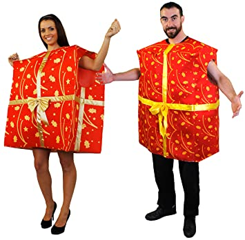 Christmas Fancy Dress.Jumbo Fancy Dress Costume With Gold Ribbon And Holly Decorations One Size Unisex Festive Costume Present Costume Perfect For Christmas Fancy Dress