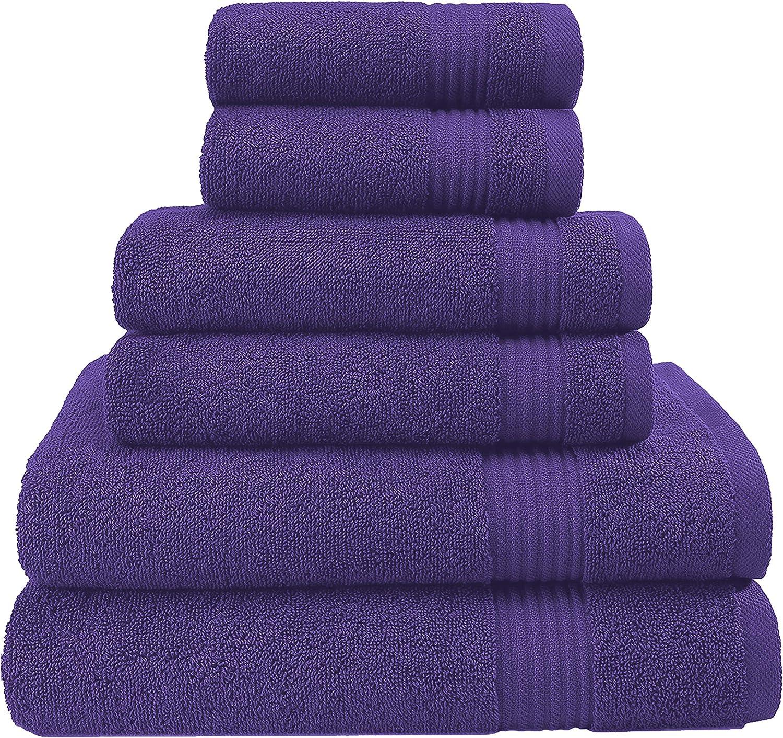 Hotel & Spa Quality, Absorbent & Soft Decorative Kitchen & Bathroom Sets, 100% Turkish Genuine Cotton 6 Piece Towel Set, Includes 2 Bath Towels, 2 Hand Towels, 2 Washcloths - Violet Purple: Kitchen & Dining