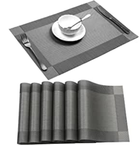 ABCCANOPY Placemat Crossweave Woven Vinyl Non-Slip Insulation Heat-Resistant Stain Resistant Anti-Skid Placemats Washable Kitchen Table Mats Set of 4