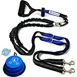 "Pet Fit For Life Light Weight 64"" Premium Dual Dog Leash With Comfortable Soft Grip Foam Rubber Handle And Integrated Shock Absorbing Bungee + Bonus Water Bowl"
