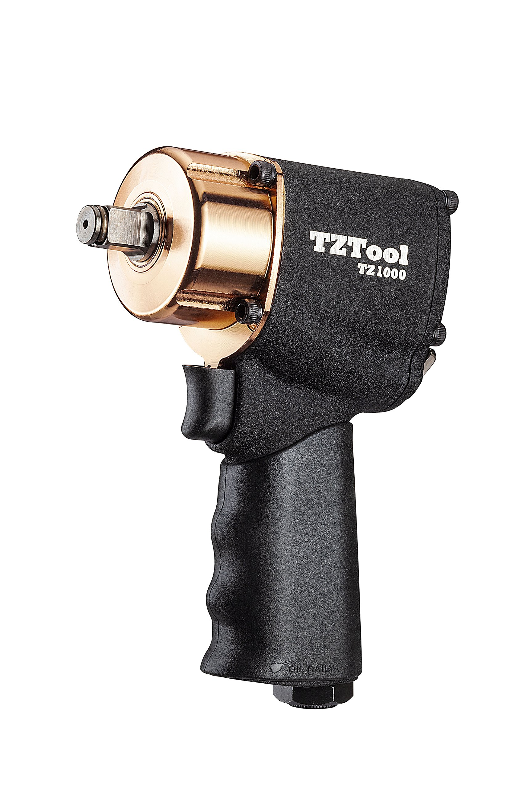 TZTOOL Golden Edition 1000 Faster 1/2'' compact impact wrench, Small size High torque, Limited free protective lug nut sockets 17 19 21mm