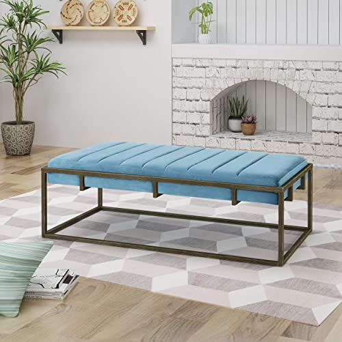 Christopher Knight Home Vassy Modern Velvet Ottoman Bench with Brass Finish, Aqua