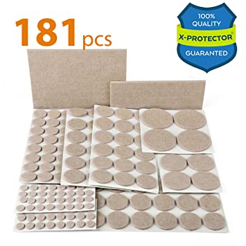 Superior X PROTECTOR Premium ULTRA LARGE Pack Furniture Pads 181 Piece! Felt Pads  Furniture Feet