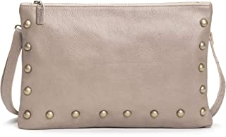 product image for Taupe Italian Leather Medium Studded Crossbody Clutch