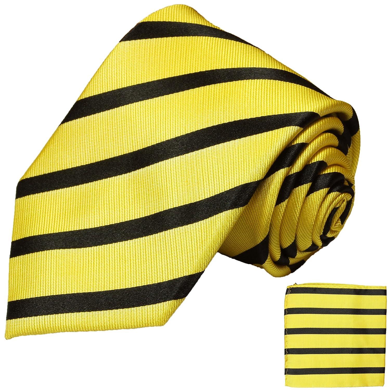 P.M. Krawatten Paul Malone Corbata de seda amarillo negro a rayas ...