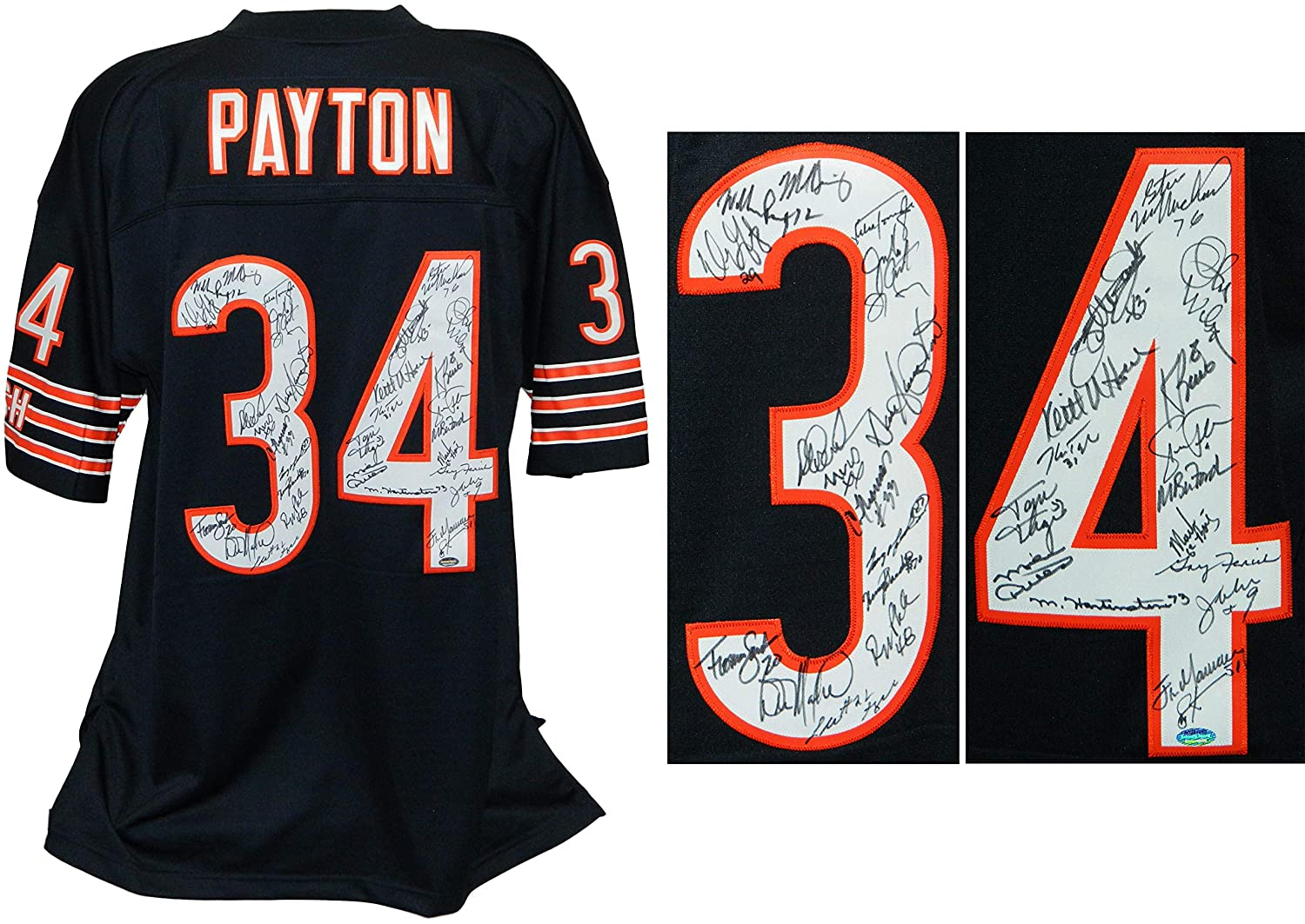 83dc12d95dc 1985 Bears Team Signed Chicago Bears Walter Payton #34 Navy Mitchell & Ness  Premier Jersey (31 Sigs) at Amazon's Sports Collectibles Store