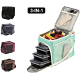 Evolutionize Meal Prep Insulated Lunch Bag - Meal Prep Cooler Bag Patent Pending Lunch Box includes Portion Control Meal Prep Containers + Ice Pack (3 Meal, Mint)