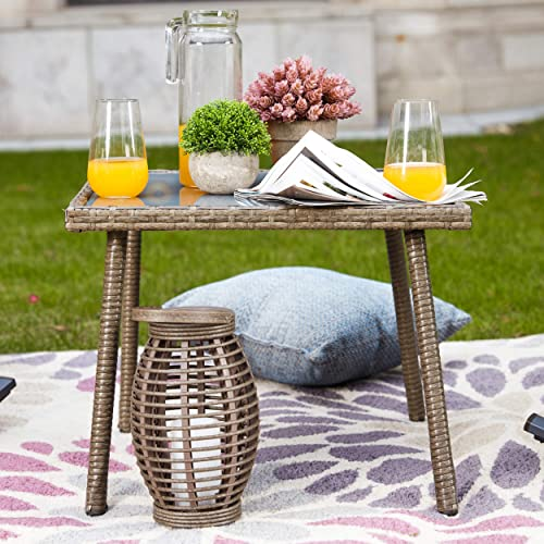 LOKATSE HOME Outdoor Furniture Sets Wicker Rattan 3 Piece Conversation Set
