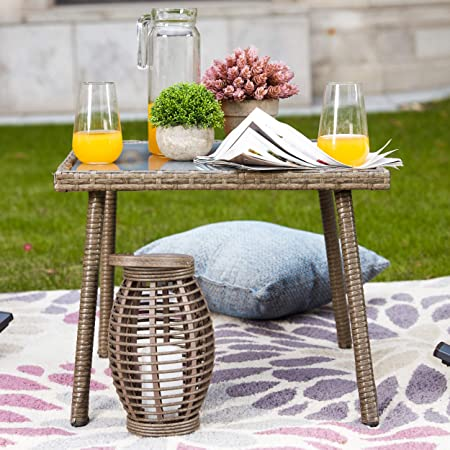 LOKATSE HOME Outdoor Furniture Sets Wicker Rattan 3 Piece Conversation Set with 2 Patio Rocking Chairs and 1 Coffe Table Blue Cushion White Stripe Pillow