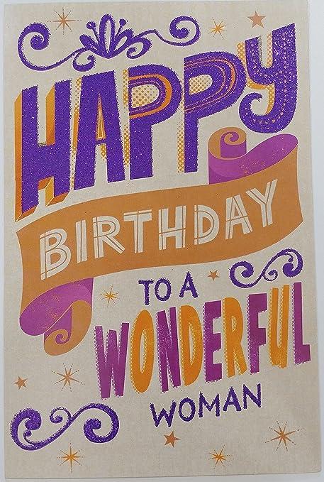 Amazon.com: Feliz Cumpleaños a un maravilloso Mujer Tarjeta ...