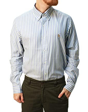 fc80191ba1f41e Ralph Lauren Men's Striped Poplin Shirt at Amazon Men's Clothing store: