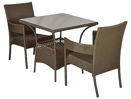 FurniFuture™ Compy Outdoor Patio Furniture Set 2+1 - (Beige)