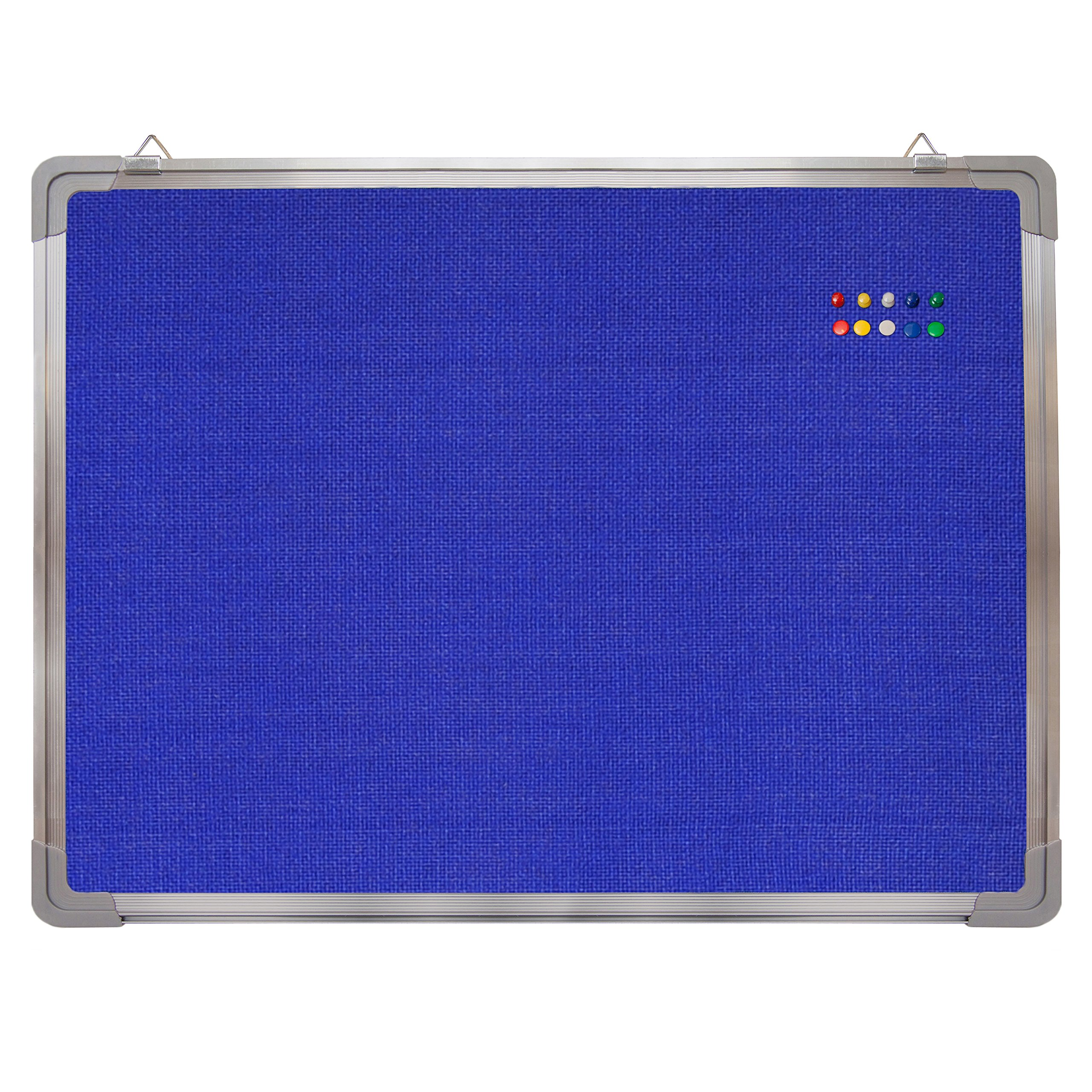 Bulletin Board Set - Felt Tack Board 24 x 18 + 10 Color Push Pins - Small Wall Hanging Message Memo Mini Display Board with Aluminium Frame for Home Office Cubicle School Kids (Blue Fabric 24x18)