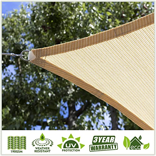 ColourTree Customized Size Order to Make Sun Shade Sail Canopy Mesh Fabric UV Block Square Rectangle TAPS12 Beige – Commercial Standard Heavy Duty – 190 GSM – 3 Years Warranty Custom Size