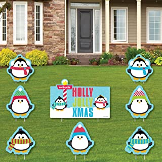 product image for Big Dot of Happiness Holly Jolly Penguin - Yard Sign and Outdoor Lawn Decorations - Holiday and Christmas Yard Signs - Set of 8