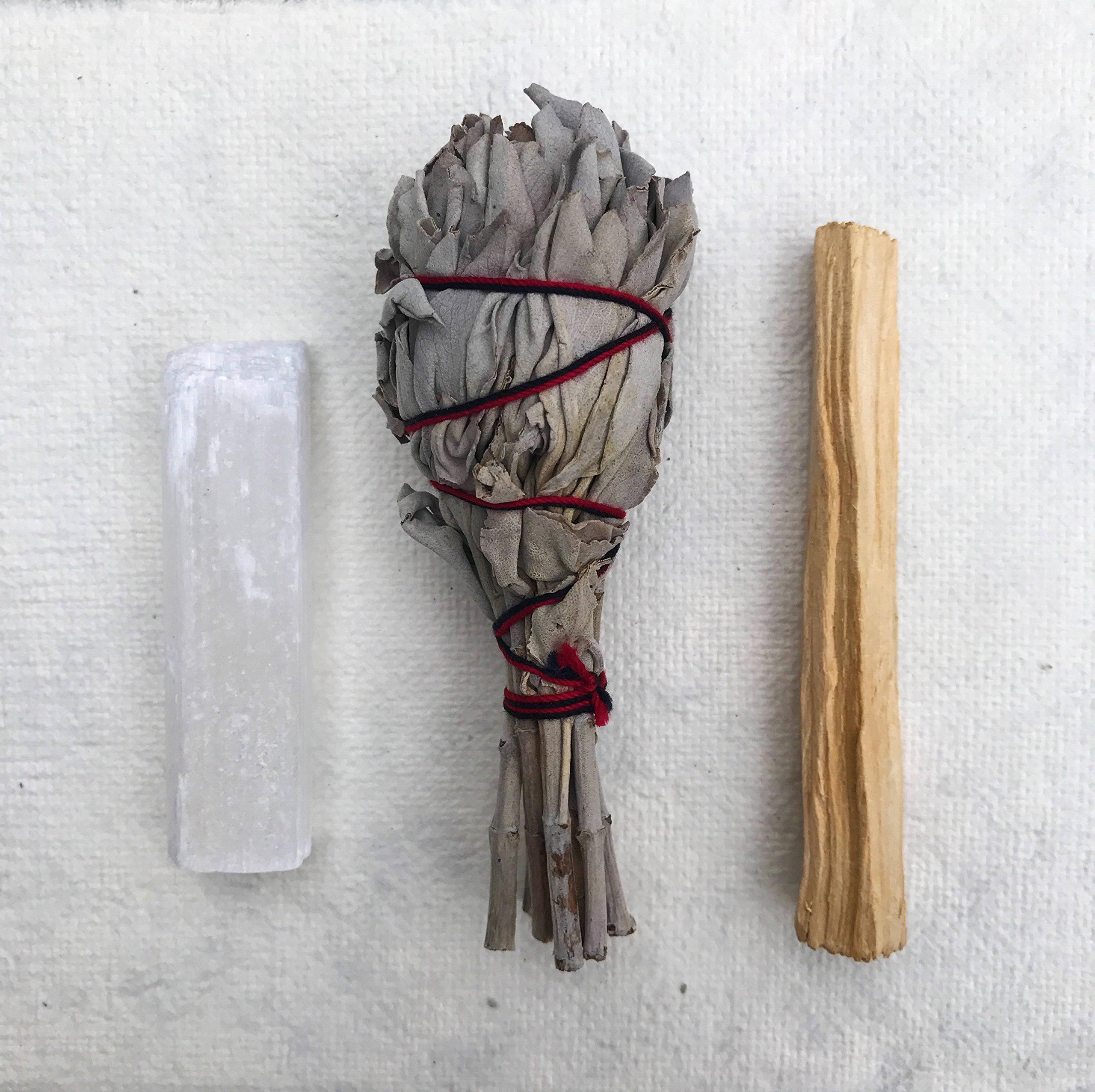 Sage Smudge Stick Kit - White Sage, Palo Santo, Mini Sage, Sage and Sweetgrass Smudging Sticks PLUS a Selenite Crystal & How to Guide for Cleansing your Home - Hand tied in California (Selenite) by Maha Living (Image #2)